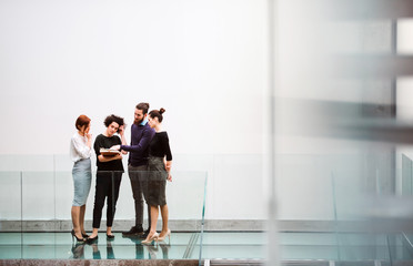 Group of young businesspeople standing near staircase, talking. Wall mural