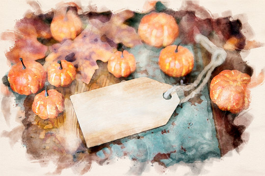 wooden tag on old vintage wooden table with pumpkins and leaves