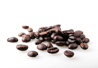 Wall Mural - Roasted Coffee Beans Isolated On White