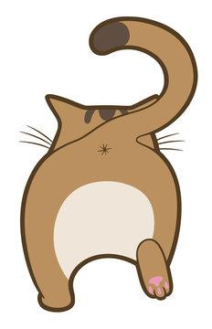 Cartoon cute cat walk away