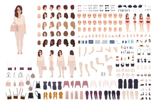 Young fashionable woman creation kit or DIY set. Bundle of body parts, gestures, clothes. Trendy street style outfit. Female cartoon character. Front, side, back views. Flat vector illustration.