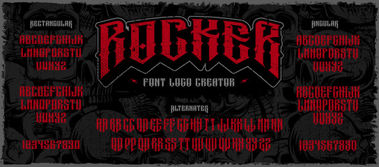 Rocker display font logo creator on the dark background