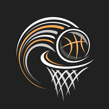Vector logo for Basketball, decorative badge with basketball ball flying on trajectory in basket with net on black background, sports chalk sketch on blackboard.