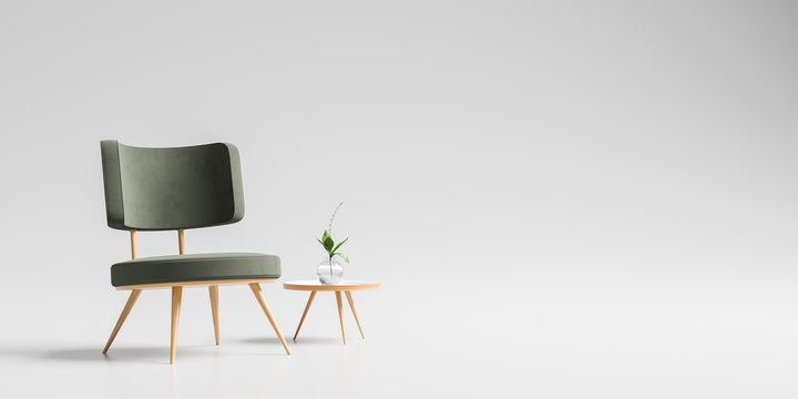 Modern armchair with wooden small coffee table isolated on soft gray background. 3D illustration.