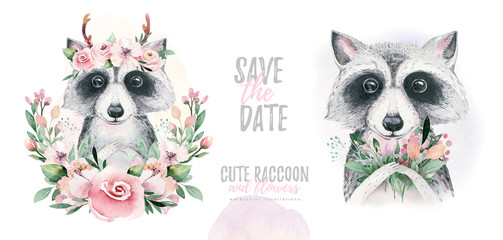 Photo sur Toile Bestsellers Watercolor cartoon isolated cute baby raccoon animal with flowers. Forest nursery woodland illustration. Bohemian boho drawing for nursery poster, pattern
