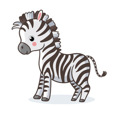 Zebra is standing on a white background and smiling.