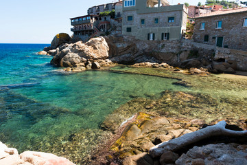 Saraceno beach at city of Giglio island. Italy