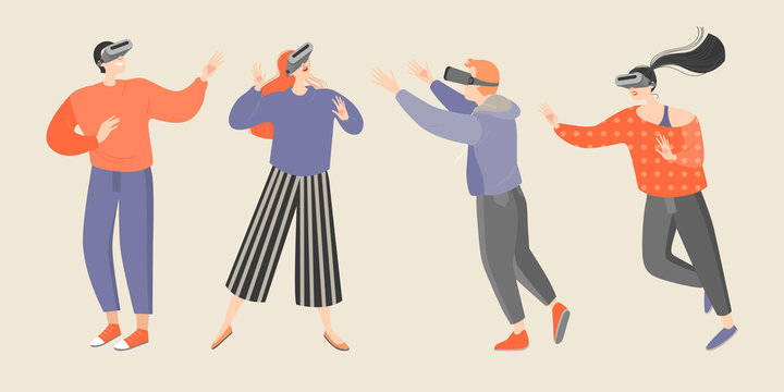 Set of vector illustrations of young people wearing virtual reality glasses
