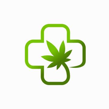 Health logos with marijuana leaves