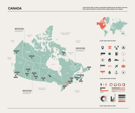Vector map of Canada. High detailed country map with division, cities and capital Ottawa. Political map,  world map, infographic elements.