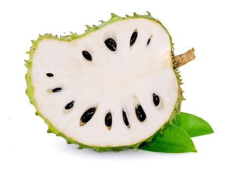 Soursop , Prickly Custard Apple isolated on white