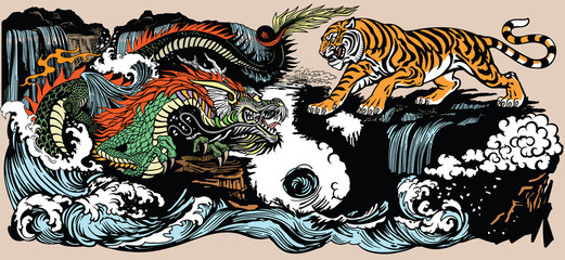 Green Chinese East Asian dragon versus tiger in the landscape with waterfall and water waves .Graphic style vector illustration included Yin Yang symbol