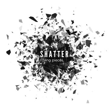 Shatter and destruction effect. Abstract cloud of pieces and fragments after explosion. Vector illustration isolated on white background