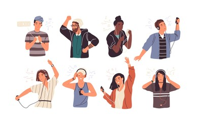 Wall Mural - Set of joyful people wearing earphones and headphones, listening to music and dancing. Bundle of happy boys and girls using audio player isolated on white background. Flat cartoon vector illustration.