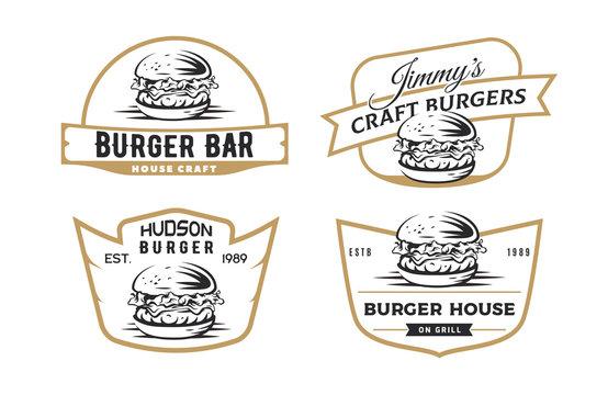 Set of burger emblems, badges and logo isolated on white background.