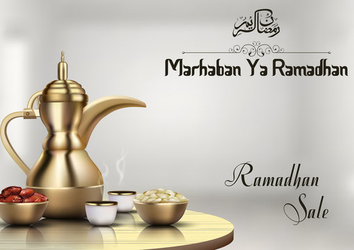 Ramadhan sale with traditional coffee pot and bowl of dates
