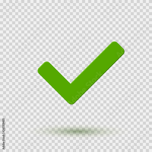 Check mark icon  Symbol Yes or OK button for correct, vote