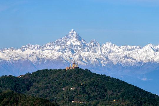 The Basilica of Superga (Italian: Basilica di Superga) and Momviso mountain aligned, Turin, Italy