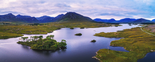 Acrylic Prints Purple Aerial panorama of the Pine Trees Island in the Derryclare Lake