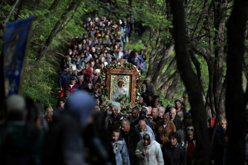 Orthodox Christians carry an icon of the Virgin Mary during a parade marking Easter near Bachkovo monastery