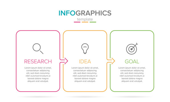 Vector infographic label template with icons. 3 options or steps. Research, idea and goal. Infographics for business concept. Can be used for info graphics, flow charts, presentations, web sites.