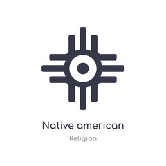 native american sun icon. isolated native american sun icon vector illustration from religion collection. editable sing symbol can be use for web site and mobile app