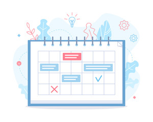 A calendar with tasks on the project. Planning schedule. Time management concept. Flat vector illustration.