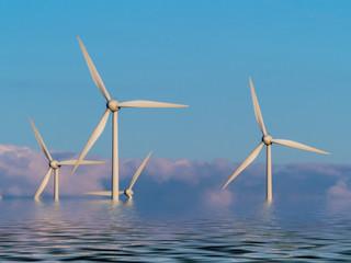 Windräder zur Stromgewinnung im Wasser. Photomontage.