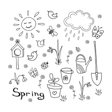 Spring doodle set. Collection of simple hand-drawn elements (sun, cloud, birds, flowers, shovel, bucket, watering can, butterflies, bees, grass). Black linear illustration isolated on white