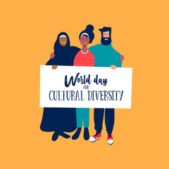 Wall Mural - Cultural Diversity day card of diverse friends