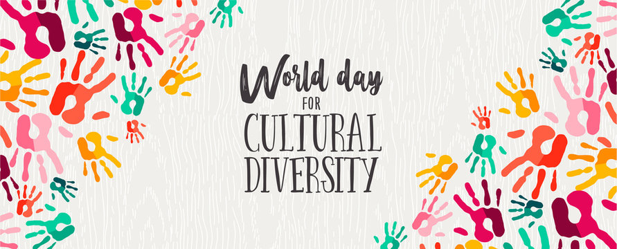 Cultural Diversity Day banner of color human hands