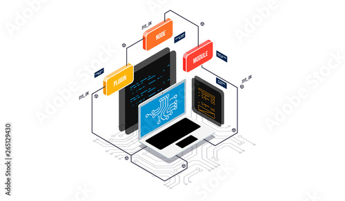 Isometric design concept virtual reality and augmented