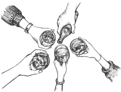 Top view cheering hands hold alcohol