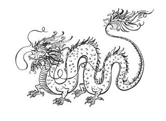 Chinese dragon spirit tattoo set