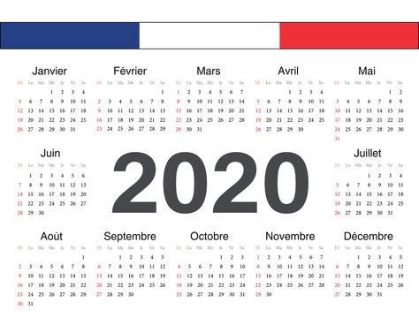 Vector french circle calendar 2020