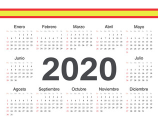 Vector Spanish circle calendar 2020