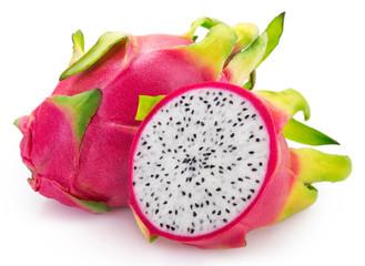Fototapete - Fresh pitahaya on white background. Dragon fruit.