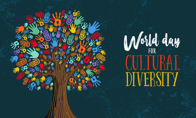 Cultural Diversity Day tree hand concept illustration