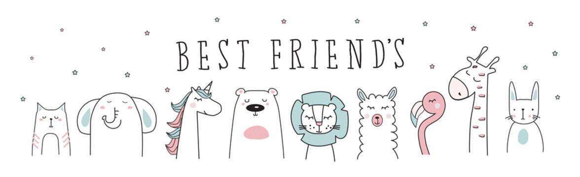 unicorn, llama, lion, bear, cat, elephant, giraffe, animal cartoon vector set illustration
