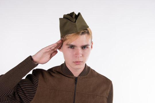Soldier of the Red Army. White background.