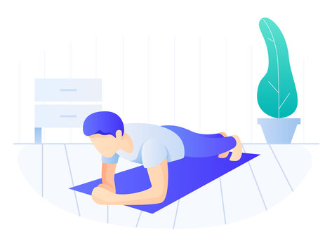 Man doing plank exercise. Core workout, exercising at home, side view
