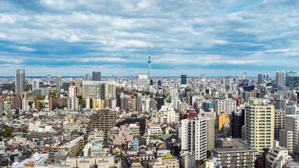 Fototapete - Time lapse of Tokyo cityscape in Japan. Zoom out.