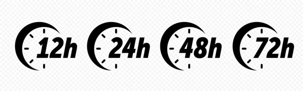 12, 24, 48 and 72 hours clock arrow deodorant effect vector icons. Delivery service, online deal remaining time web site symbols