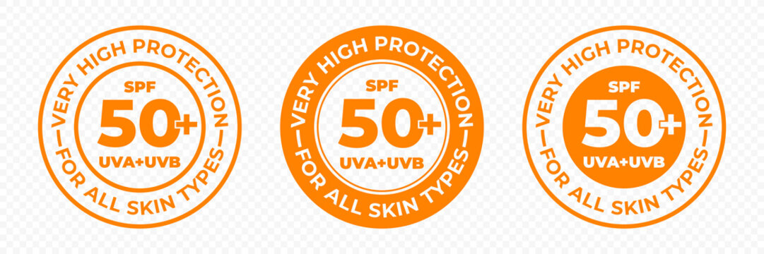 SPF 50 sun protection, UVA and UVB vector icons. SPF 50 PLUS high sunblock, skin UV protection lotion and cream package label