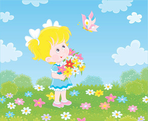 Wall Murals Birds, bees Cute little girl with a colorful bouquet of wildflowers looking at a butterfly flittering over a green field on a sunny summer day, vector illustration in a cartoon style