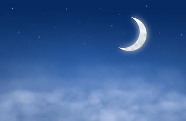 backgrounds night sky with stars, moon and clouds.