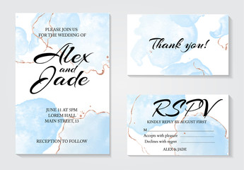 Set of 3 greeting watercolor templates: invitation wedding card, thank you and rspv card. Modern tender blue fluid ink with golden line decorative elements. Abstract drawing  design