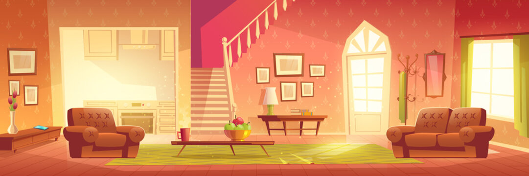Home interior with hallway entrance, stairs on second floor and furniture. Bright hall, living room and kitchen apartment background with hanger, armchairs, tables, carpet. Cartoon vector illustration