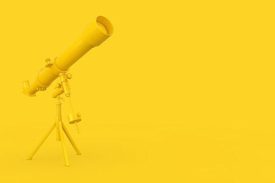 Yellow Modern Mobile Telescope on Tripod. 3d Rendering