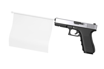White Blank Flag for Your Design Comming Out from Modern Gun. 3d Rendering